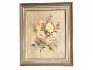 'Roses' - Original Vintage Oil Painting on Board