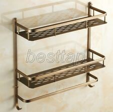 Antique Brass Bathroom Accessories 2-Tier Shower Basket Storage Shelves sba527