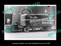 OLD POSTCARD SIZE PHOTO OF LOGANSPORT INDIANA THE SCHMIDT BREWERY TRUCK c1950