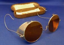 Vintage Willson 1920's Amber Lens Metal Side Shield Goggles w/Case Style N86