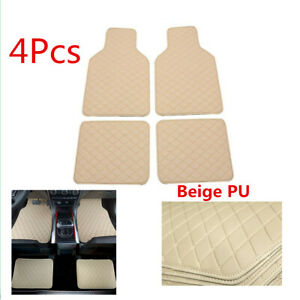 PU Leather Car Floor Liner Carpet All Weather Mats For Front  Rear Waterproof