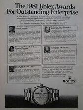 5/1981 PUB MONTRE WATCH ROLEX AWARDS FOR ENTERPRISE ORIGINAL AD
