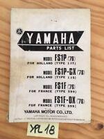 Yamaha 50 FS1P FS1PDX FS1F FS1FDX 1976 catalogue pièces détachées parts list