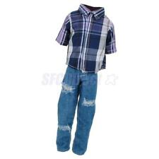 Clothes for Barbie Boyfriend Ken Dolls T-shirt & Ripped Jeans Pants Trouser