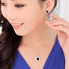 Women's Oval Blue Sapphire Pendant Chain Necklace Earrings Jewelry Set
