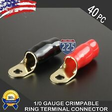 "0 Gauge Gold Ring Terminal 40 Pack 1/0 AWG Wire Crimp Red Black Boots 5/16"" Stud"