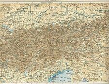 Karte der ALPEN / OSTALPEN / ÖSTERREICH 1894 Original-Graphik