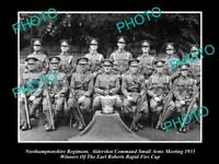 OLD POSTCARD SIZE MILITARY PHOTO OF NORTHAMPTONSHIRE REGIMENT RIFLE TEAM 1933