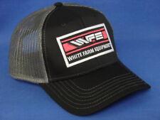 White Farm Equipment Tractor Hat - Black Gray Mesh