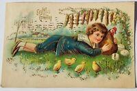 1908 BOY HUGS ROOSTER- Vintage EASTER Postcard-Chicks eggs Embossed~Antique rare