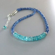 djs Sundance Blue Kyanite Blue Green Apatite Sterling Silver Necklace Boho