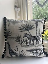 Linen Cushion NEW Voyage PERICULO Antique Grey African Animal Print Cotton