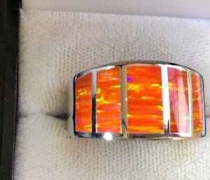 Orange fire Opal leaps of flames Sterling silver 925 Men's Z+  Ring prototype 13