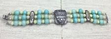 Vintage MEXICO Bracelet Sterling Mayan Warrior Aqua Alabaster & Jasper 3 Strand