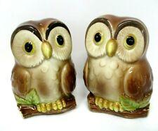 Otagiri Owl Salt Pepper Shakers Japan 1981 Hand Painted Vintage 80s Kitchen Deco