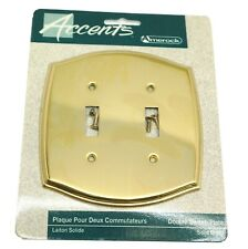 AMEROCK Accents Solid Polished Brass Double Toggle Switch Plate Electric Cover
