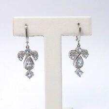 New 14k White Gold 1.4ctw Aquamarine Diamond Dangle Leverback Earrings 5.2gr