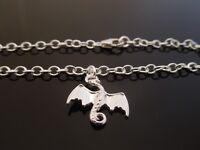 "3mm Sterling Silver Bracelet Or Ankle Chain Anklet Dragon Charm 7"" 8"" 9"" 10"" etc"