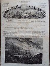 L'UNIVERS ILLUSTRE 1874 N 1005  UN INCENDIE DANS LA FORET DE FONTAINEBLEAU