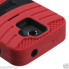 Huawei Premia 4G M931 Metro Hybrid H Armor Case Skin Cover w/Stand Red Black
