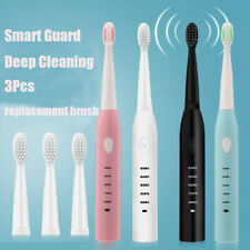 Black Sonic Electric Toothbrush Rechargeable 5 Modes with 4 Brush Head Timer