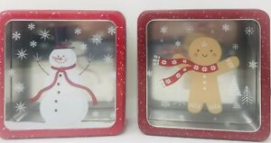 "2 Holiday Decorative Gift Tins Christmas Food Storage Food Safe 7.5""x7.5""x2.5"""