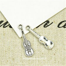 40pc Retro Tibetan Silver violin Charm Beads Pendant accessories JP723
