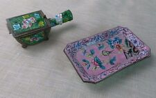 Cloisonne Small Pink Tray Dish & Stamp Holder Vintage Lot Of 2 Items
