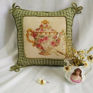 Vintage Needlepoint Wool Tapestry Cushion Shabby Chic Rose Teapot Green