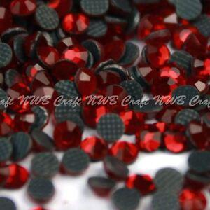 Red Hotfix Iron On Glass Rhinestones Flat Back Crystals Diamante Gems
