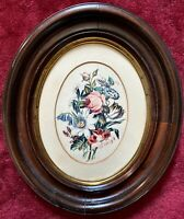 One Antique Mahogany Flowers OVAL PICTURE FRAME Print & Slant-Cut Oval Matte NR