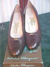 Vintage Salvatore Ferragamo Brown Calf Leather Heeled Shoes w/Box-Size 8 B