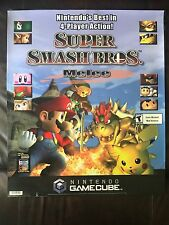 Nintendo Gamecube SUPER SMASH BROS Melee Store Display Sign Sticker Cling Poster