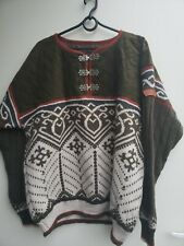 Vintage Sondre Authentic Norwegian Design Blue Wool Silver Clasp Sweater