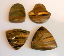 Tigereye Iron Tiger Eye Pendant Beads LOT of 4 Top Drilled Various Shapes