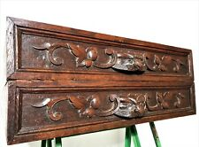 Pair hunting scroll leaves drawer Antique french carved wood salvaged furniture