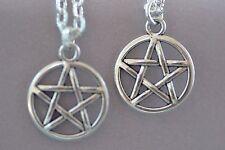 NP008-2 Two Pentagram Necklaces, Best Friends, Sisters, Wicca, Supernatural