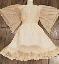 Frock and Frill Peach Lace Crochet Angel Wings Sleeves Mock Wrap Dress 16