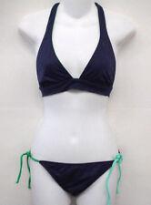 ROXY Blue Green Halter Bikini Swimsuit M Cup B NEW