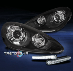 For 2011-2014 Porsche Cayenne HID LED Black Projector Headlight w/Bumper DRL Kit