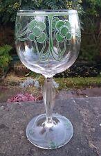 LARGE ANTIQUE BOHEMIAN ART NOUVEAU JUGENDSTIL SECESSIONIST GLASS ENAMEL GOBLET