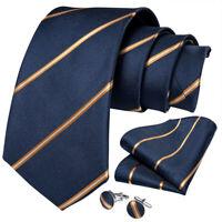 Classic Mens Tie Set Navy Gold Striped Silk Necktie Hanky Cufflinks Business