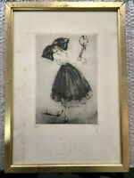 Original Engraving Etching From Louis Icart   The Prisoner  1917  Rare