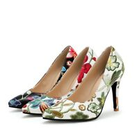 Womens Pointed Toe Slip On Floral Pumps Kitten Heels Shoes Stylish Loafers Party