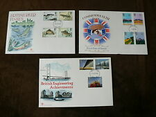 1983 Stuart FDCs x 3: British River Fishes, Commonwealth Day, Engineering