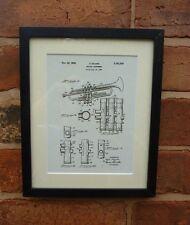 USA Patent Drawing SELMER TRUMPET Music Instrument MOUNTED PRINT 1937 Xmas Gift