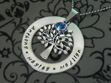 Personalised Hand Stamped Family Names Tree Of Life Mothers Pendant