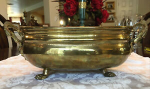 Vintage Brass Metal Basket lion Foot  Oval French Filigree Gold Tone Footed
