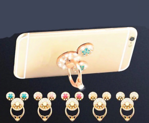 Minnie Mickey Mouse Holder Mobile Phone Finger Ring Universal Crystal Diamonds