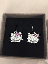 New Gift Box Sanrio Hello Kitty Earrings Rhinestones Crystal Dangle Authentic